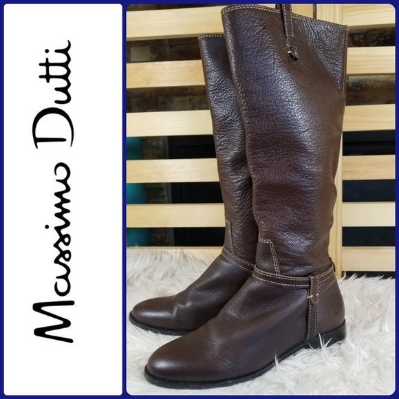d42b955d961 MASSIMO DUTTI Brown Leather Boots Side Zip